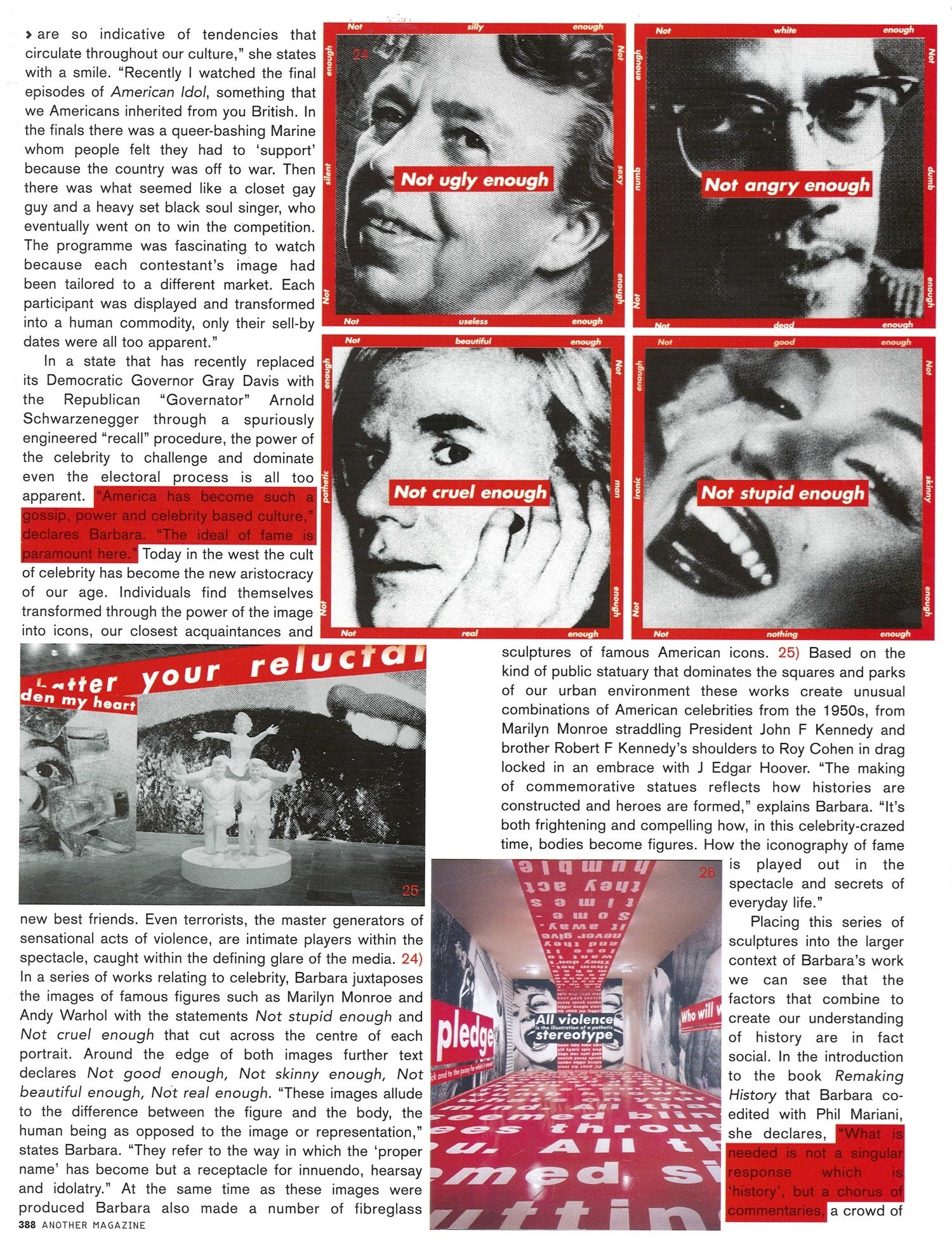 Barbara Kruger for AnOther Magazine Spring/Summer 2004