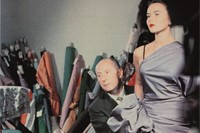 Christian Dior with model Sylvie, circa 1948. Cour