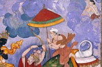 'Krishna and Indra', about 1590, Lahore, watercolo