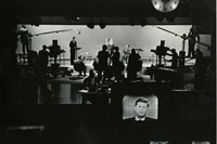 © Irving Haberman: John F Kennedy, on-set monitor at the fir