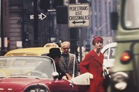 Anne St. Marie + Cruiser in Traffic, NY (Vogue), 1962