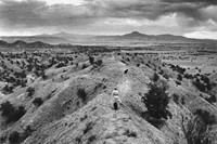 Georgia O'Keeffe on Evening Walk with her Dog, Ghost Ranch,