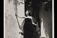 Thea photographed in black evening dress. Lebanon, early 195