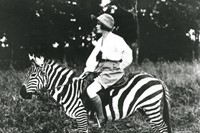 Osa Johnson riding a zebra