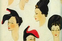 Illustration for hats by Elsa Schiaparelli