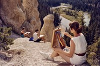 Art students painting hoodoos, 1957