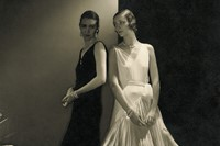 Model Mario Morehouse and unidentified model wearing dresses