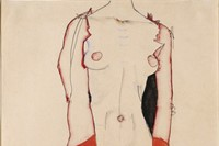 Egon Schiele, Standing Nude in Red Jacket, 1913