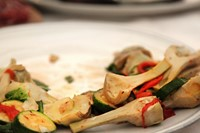 Artichokes, grilled courgettes and peppers