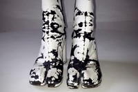 Distressed painted white Tabi boots, 2004