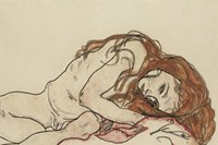 Egon Schiele, Nude with lowered head, 1918