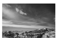 View of the Chechen Caucasus mountains from the high peak of