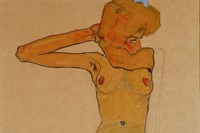 Egon Schiele, Seated Female Nude with Raised Arm (Gertrude S