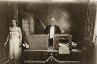 Photograph of the Mexican magician Professor Herrmann sawing