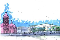 Concept sketch for the National Assembly for Wales