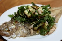 Megrim sole, courgettes and white beans