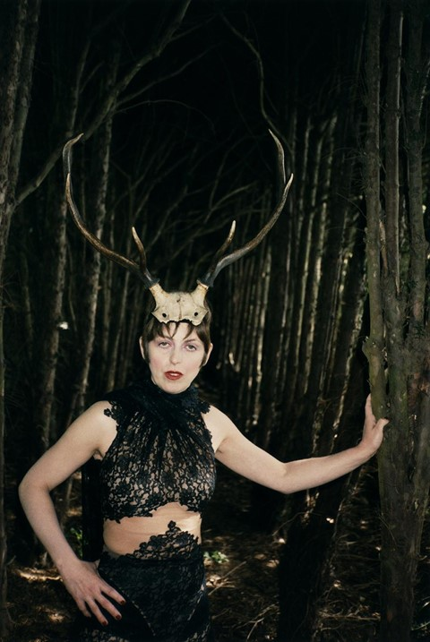 Isabella Blow with Horns, Gloucestershire, 1996