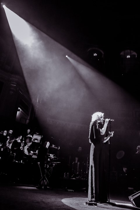 Goldfrapp performing at the Royal Albert Hall wearing Hussei