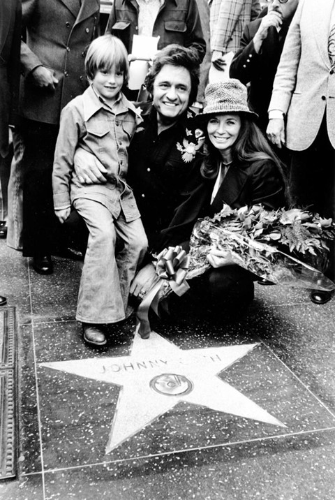 June Carter, Johnny Cash and son John at the dedication of a