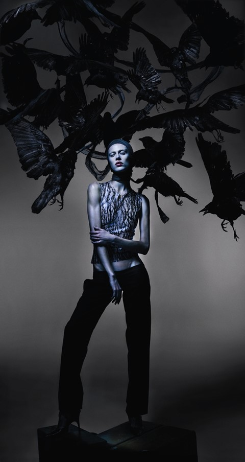 Aymeline wears hand-painted thorn latex top Hunger S/S96