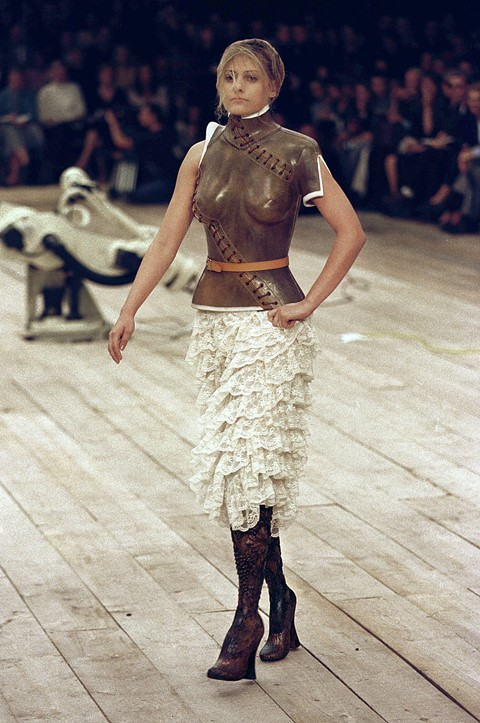 Aimee Mullins wears moulded leather bodice
