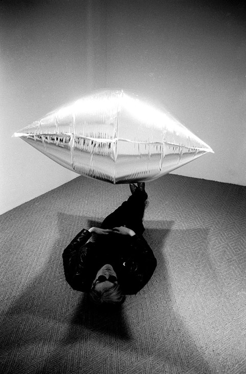 Andy Warhol Under Silver Cloud, during his exhibition