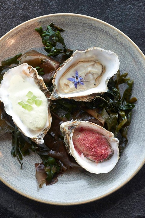 Craft London Oysters With Rhubarb, Borage and Cucu