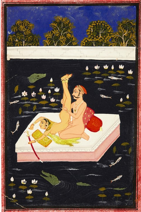 Lot 53 A couple making acrobatic love on a lake, M