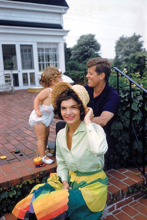 Jackie, JFK and Caroline, Hyannis Patio, 1959