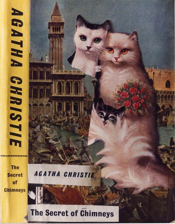 Defaced book jacket of 'The Secret of Chimneys by Agatha Chr