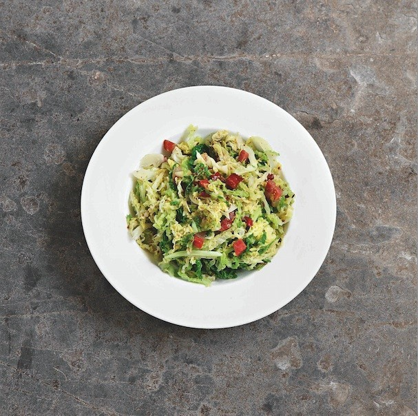 Stir-Fried Savoy Cabbage with Speck and Grain Mustard