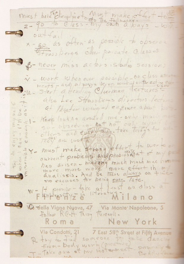 Page from Marilyn Monroe's address book