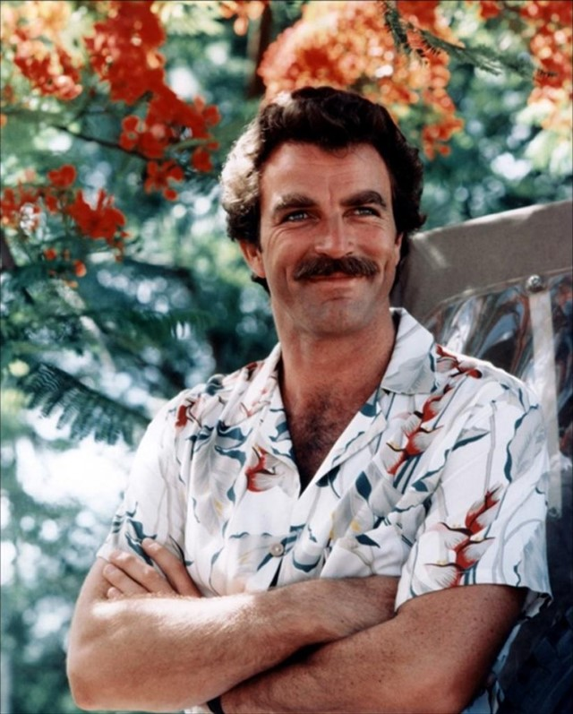 Tom Selleck in one of his Hawaiian print shirts