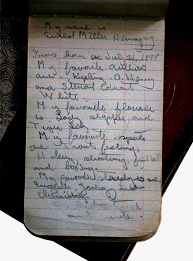 Ernest Hemingway's school notebook from 1908