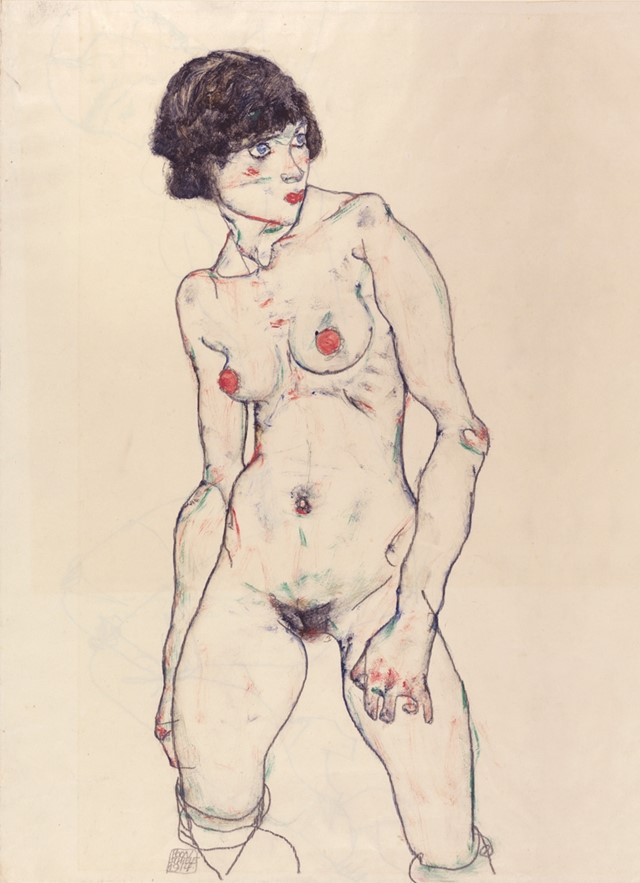 Egon Schiele, Standing Nude with Stockings, 1914