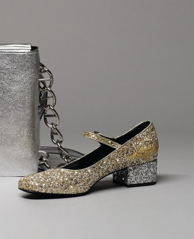 Mary Jane in gold and silver glitter by Saint Laurent, featu
