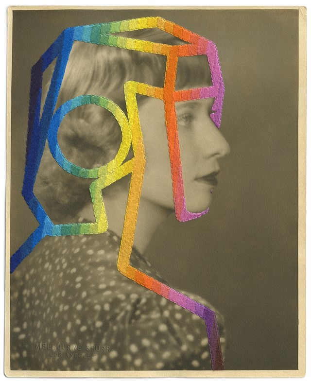 The Telepath, 2014, Hand embroidery on found photograph
