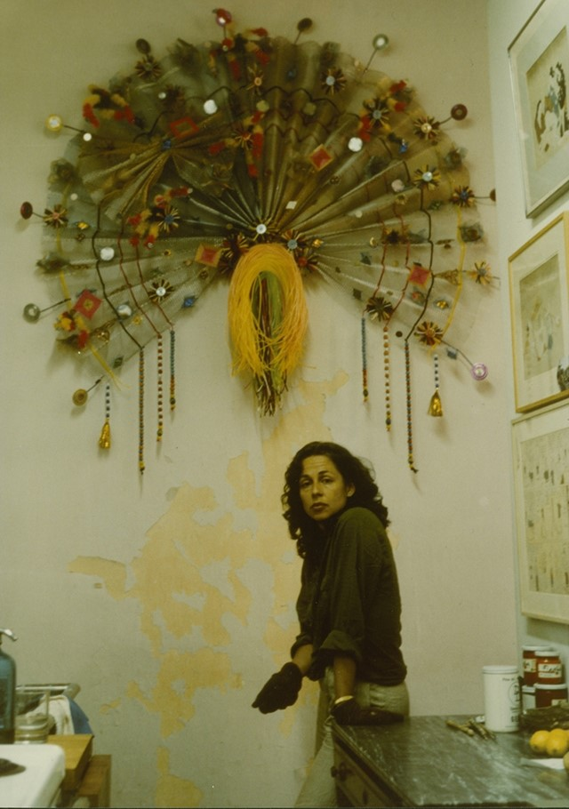 Lynda Benglis with work from the Peacock series, India, 1979