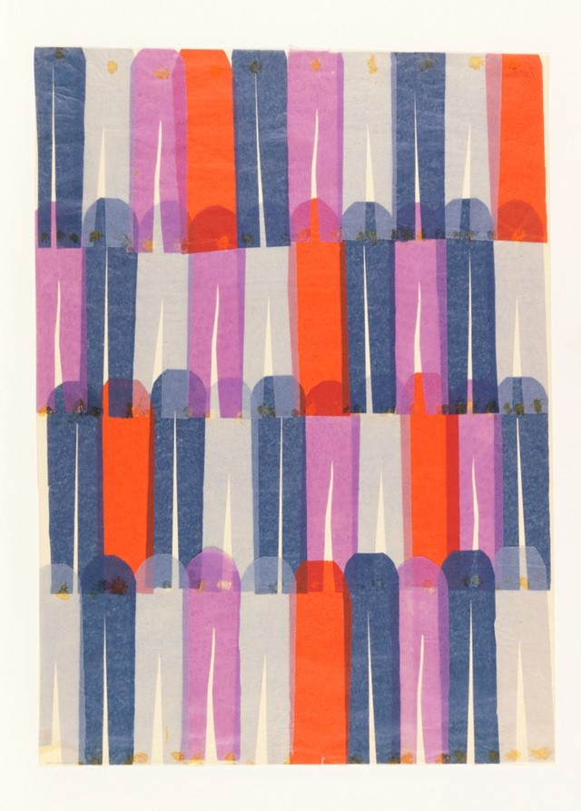 Collage, Design for printed textile-clothespins, 1957–59