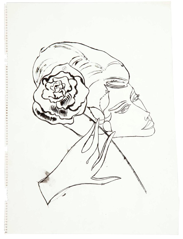 Andy Warhol Female Head, Hand and Flower, 1958