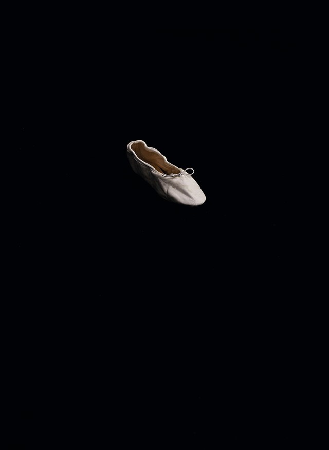 White leather ballet slipper