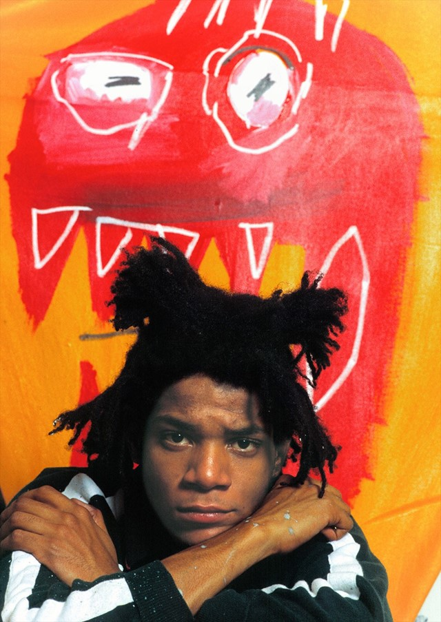Jean-Michel Basquiat in his studio in Soho, 1985