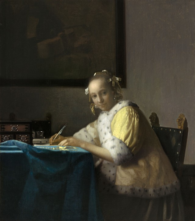 Johannes-Vermeer-(1632-to-1675),-Lady-Writing,-c.-