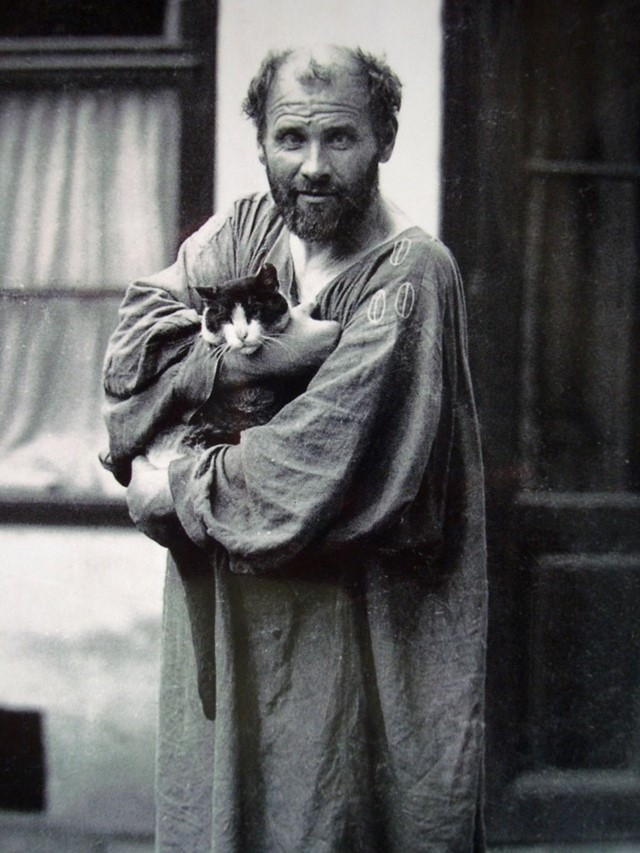 Moriz Naehr - Gustav Klimt and his Cat, Katze, at