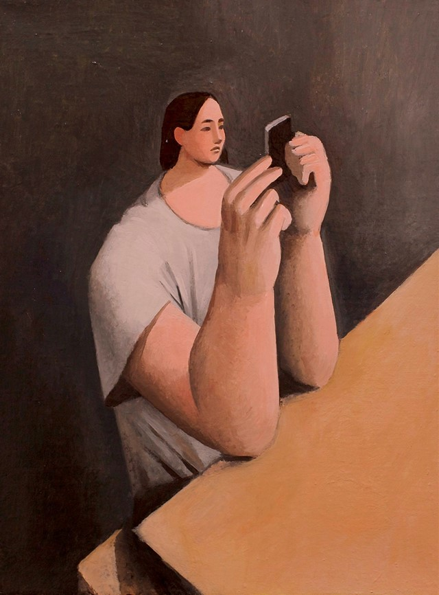 Tony Toscani, Checking Instagram, 2018, Oil on Lin
