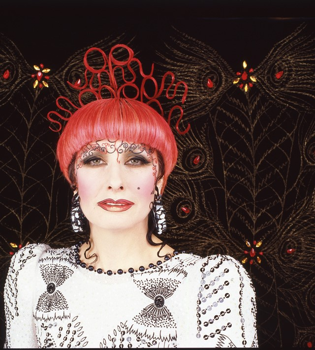 Zandra Rhodes photo for the poster for the SS 1986
