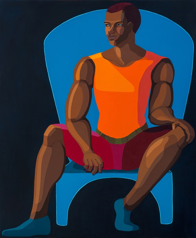 Nirit Takele, Young Man Sitting On Blue Chair, 2021