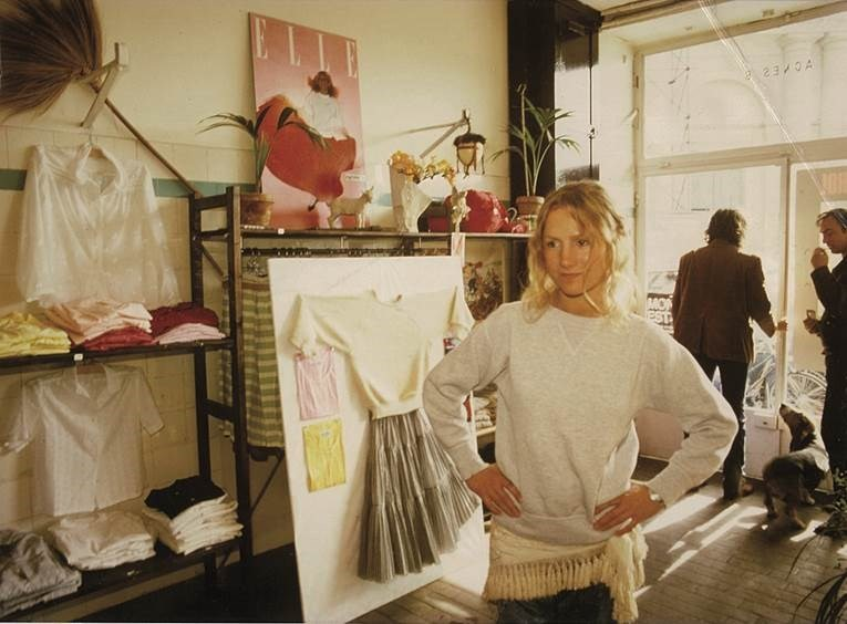 Agnès b. in her first shop in 1976 on rue du Jour