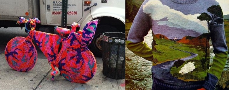 LOLZ Knits: Knitted bicycle in NY; landscape jumper