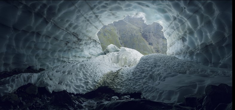 Looking out of the Pallin Glacier tunnel, in the Scandinavia
